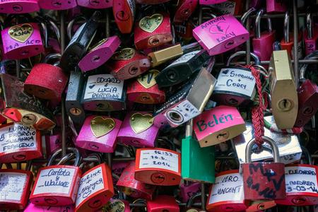 juliets: Colourful Padlocks next to Romeo and Juliets Balcony Verona Stock Photo