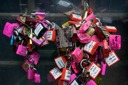 romeo: Colourful Padlocks next to Romeo and Juliets Balcony Verona Stock Photo