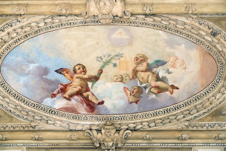 italian fresco: Ceiling at the entrance to Madonna Del Giglio Church in Bergamo