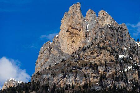 fassa: Mountains in the Valley di Fassa near Pozza di Fassa Trentino Italy Stock Photo