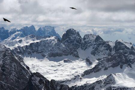 fassa: View from Sass Pordoi in the Upper Part of Val di Fassa Stock Photo