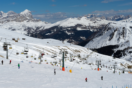 sud tirol: Skiing in the Dolomites at the Pordoi Pass Stock Photo