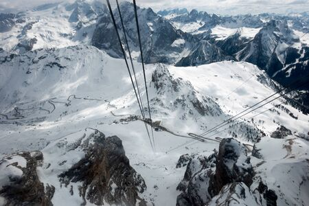 sud tirol: View from Sass Pordoi in the Upper Part of Val di Fassa Stock Photo