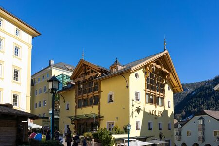 sud tirol: View of the Adler Building in Ortisei