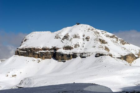 View from Sass Pordoi in the Upper Part of Val di Fassa Stock Photo