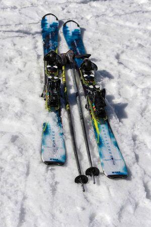 sud tirol: Pair of Skis and Sticks in the Snow at Pordoi