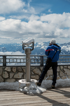 fassa: Man Looking at the View from Sass Pordoi in the Upper Part of Val di Fassa