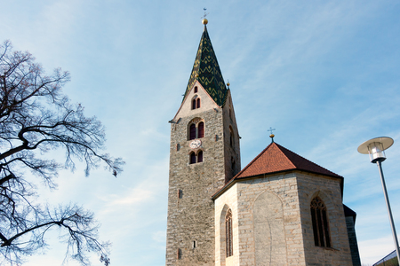 parish: Belfry of the Parish Church in Villanders Stock Photo