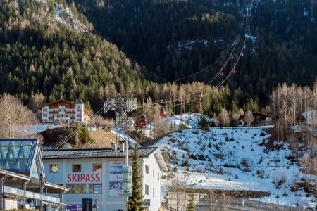 sud tirol: View of the Cable Car at Ortisei in Val Gardena Stock Photo