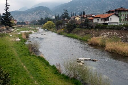 trentino: The River Sarca flowing through Arco Trentino italy