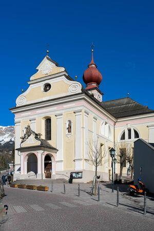parish: View of the Parish Church in Ortisei Stock Photo
