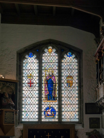 seething: Stained Glass Window in St Olaves Church Seething Lane London Editorial
