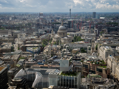 st pauls: Skyline View of London towards St Pauls Cathedral Stock Photo