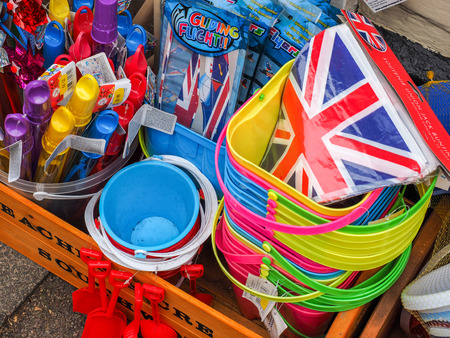 southwold: Beach Goods on Sale outside a Shop in Southwold Stock Photo