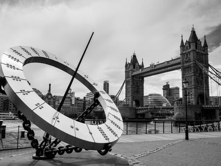 sun dial: Sun Dial near Tower Bridge in London Stock Photo