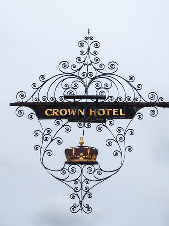 southwold: Crown Hotel Sign in Southwold