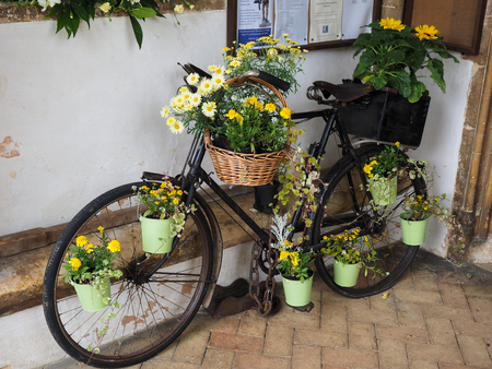 southwold: Old Bicycle Decorated with Flowers in St Edmunds Church Southwold