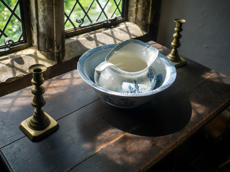 priory: Old Water Jug and Basin at Michelham Priory