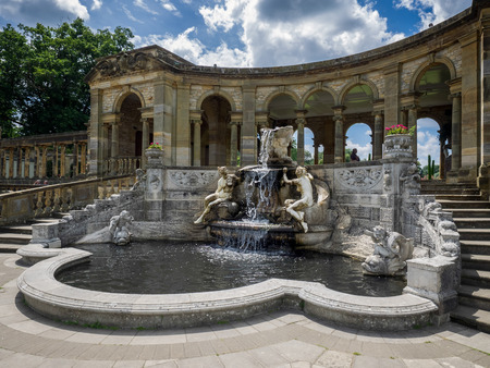 nymphs: View of the Nymphs Fountain by the Lake at Hever Castle Editorial