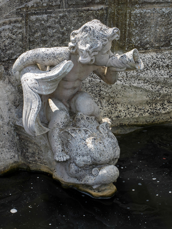 unclothed: Detail from the Nymphs Fountain by the Lake at Hever Castle