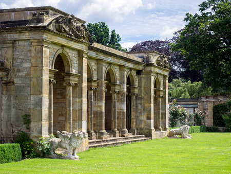 garden statuary: View of the Loggia by the Lake at Hever Castle Editorial