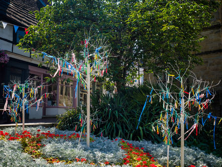 grinstead: Colourful Looms and Ribbons on Artificial Trees in East Grinstead