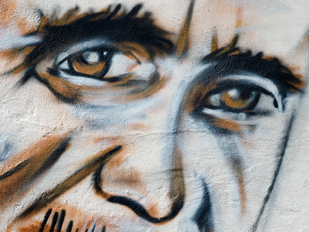 southwold: Close-up of a Face Painted on the Wall of Southwold Pier