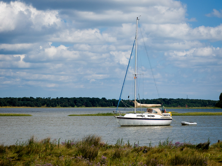moored: Yacht Moored on the River Alde