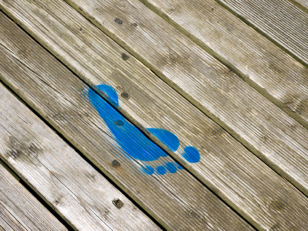 southwold: Blue Painted Footprint on Southwold Pier