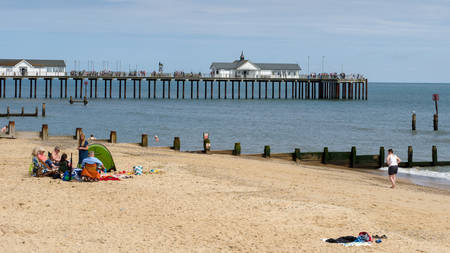 southwold: People Enjoying a Sunny Day Out at Southwold