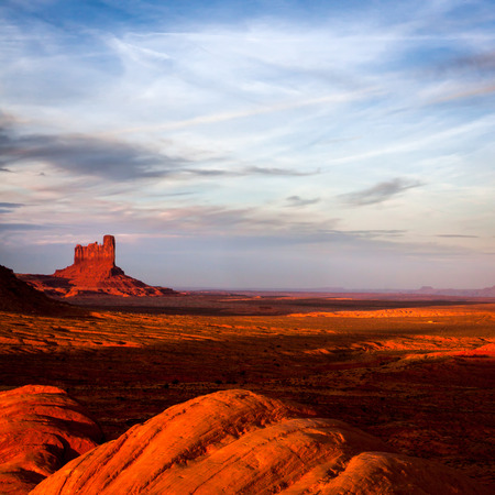 Sun Fading Over Monument Valley Stock Photo