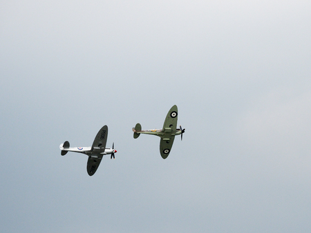 vickers: Spitfire Mk X1X PS915 The Last One Produced Flying over Dunsfold Airfield Editorial