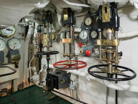 engine room: Pressure Valves on HMS Belfast