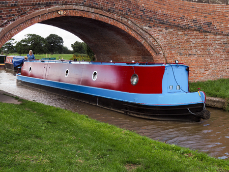 Narrow Boat Travelling along the Shropshire Union Canal