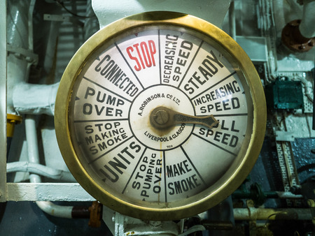hms: Engine Speed Dial on HMS Belfast