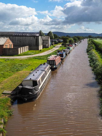 Narrow Boats Moored along the Shropshire Union Canal