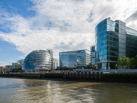 postmodern: City Hall and Other Modern Buildings along the River Thames Editorial