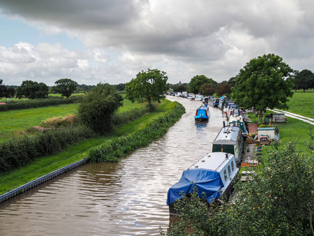 inland waterways: Narrow Boats Moored along the Shropshire Union Canal