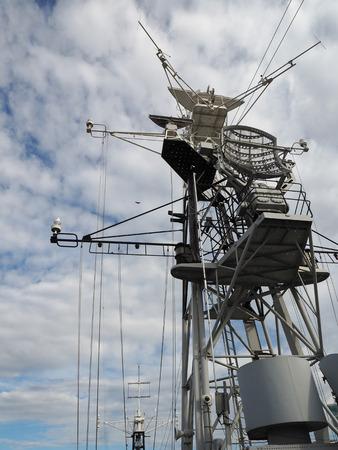 battleship: Communications Mast on the HMS Belfast