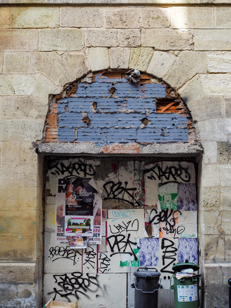 bordeaux: Graffiti Covered Archway in Bordeaux Editorial
