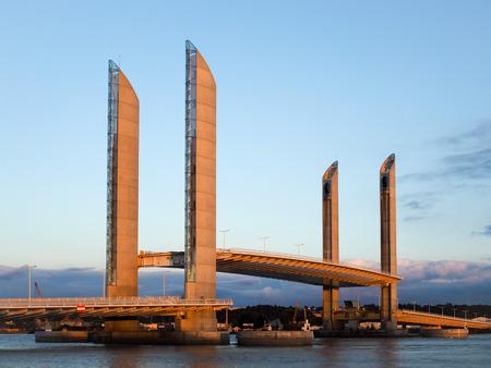 tallest bridge: New Lift Bridge Jacques Chaban-Delmas Spanning the River Garonne at Bordeaux