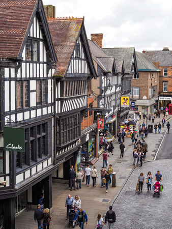 chester: People Shopping in Chester City Centre