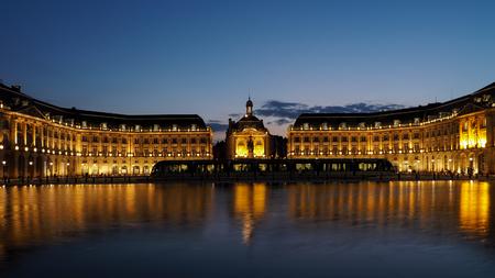 bordeaux region: Miroir dEau at Place de la Bourse in Bordeaux