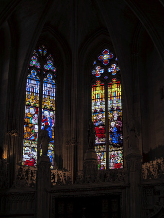 stained glass windows: Stained Glass Windows in the Basilica St Seurin in Bordeaux