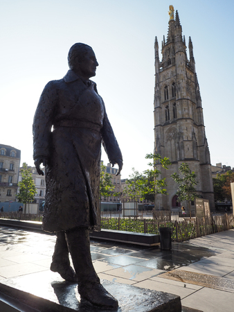 Statue of Jacques Chaban Delmas in Front of the Pey-Berland Tower in Bordeaux