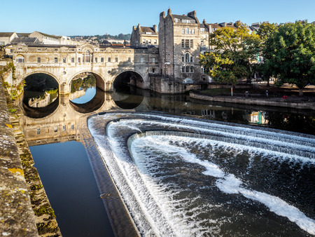 View of Pulteney Bridge and Weir in Bath