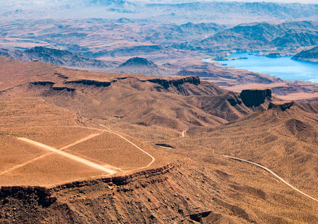 airstrip: Aerial View of an Airstrip next to Lake Mead