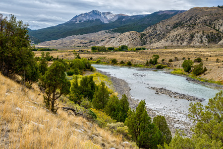 View of the Yellowstone River in Montana Stock Photo