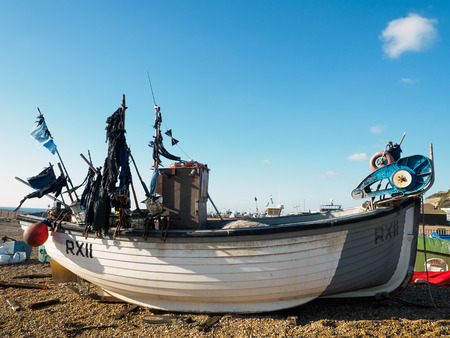 Fishing Boat on Hastings Beach Editorial