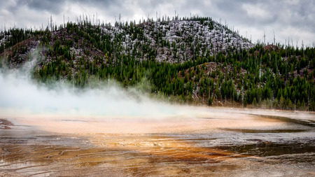 View of the Grand Prismatic Spring Stock Photo